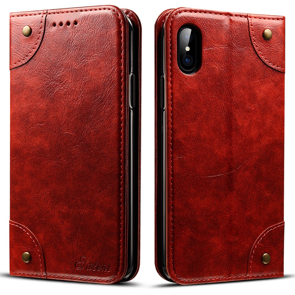 iPhone XS用のSUTENIレザーケースiPhone Xケース、PUレザー[キックスタンド]付きクレジットカードスロット収納付きフォリオフリップウォレット財布フリップホルダーiPhone X/XS用保護カバー[5.8インチ] - レッドブラウン   B078BD6NBX