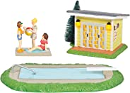 Department 56 Original Snow Village National Lampoon's Christmas Vacation Pool Fantasy Lit Building and Figurine Set, 3 Inch