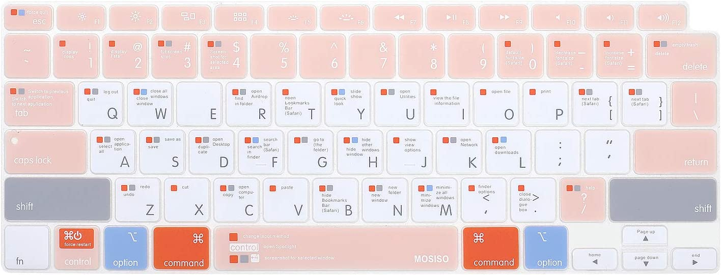 MOSISO Keyboard Cover Only Compatible with MacBook Air 13 inch 2020 Release A2337 M1 A2179 Backlit Magic Keyboard with Retina Display&Touch ID, Protective Silicone Skin, Mac OS X Shortcut, Rose Quartz