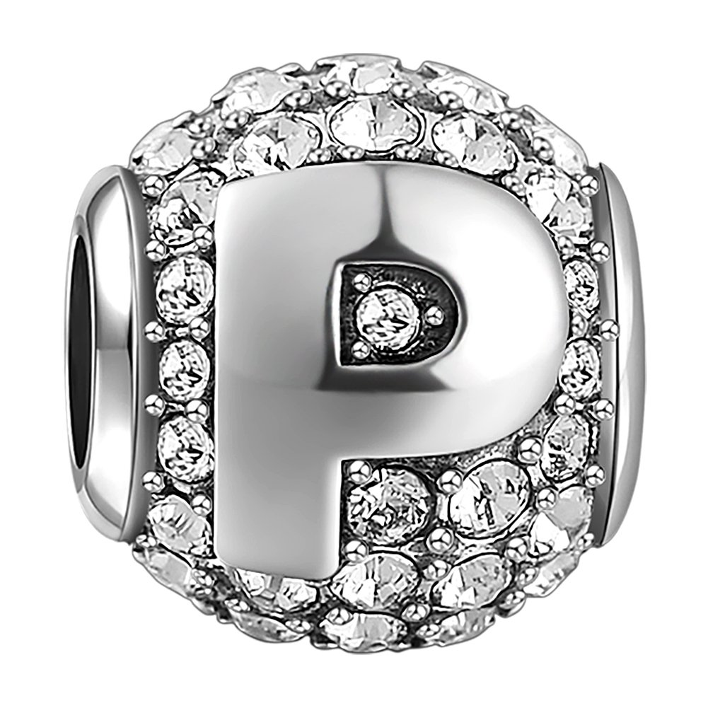 SOUFEEL New Letter P Charms Swarovski 925 Sterling Silver Charms For Bracelets Necklaces Letters Series