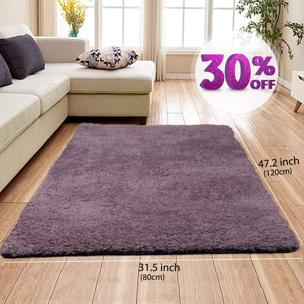 AziPro Area Rugs for Living Room Grey Modern Shaggy Carpet 47.2