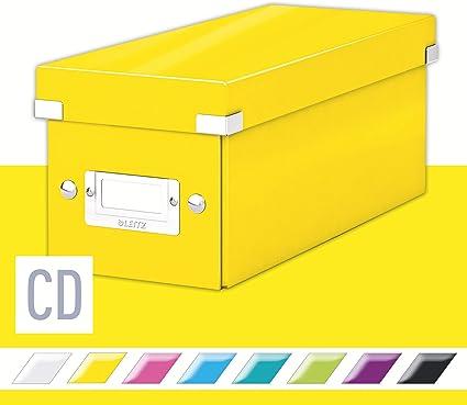 Leitz Caja para guardar CDs, Amarillo, Gama Click & Store, 60410016: Amazon.es: Oficina y papelería