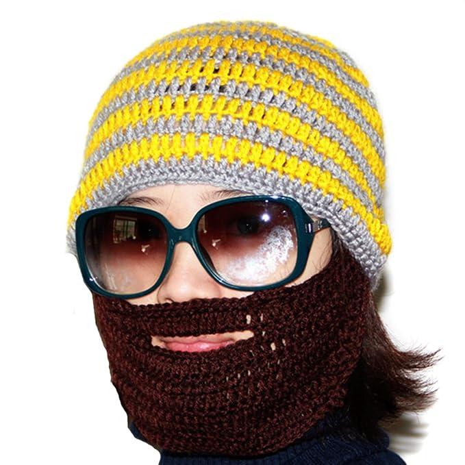 LOCOMO diseño de rayas Big barba bigote Knit Beanie Hat Cap viento ...