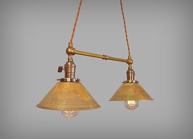 Vintage Industrial Twin Pendant Lamp Fixture Art Deco
