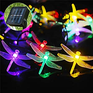 Solar String Lights 50 LED Dragonfly Lamp String Indoor Outdoor Decorative Colorful Lights Garden Yard Decoration Waterproof Dragonfly String Lights with Solar Panel