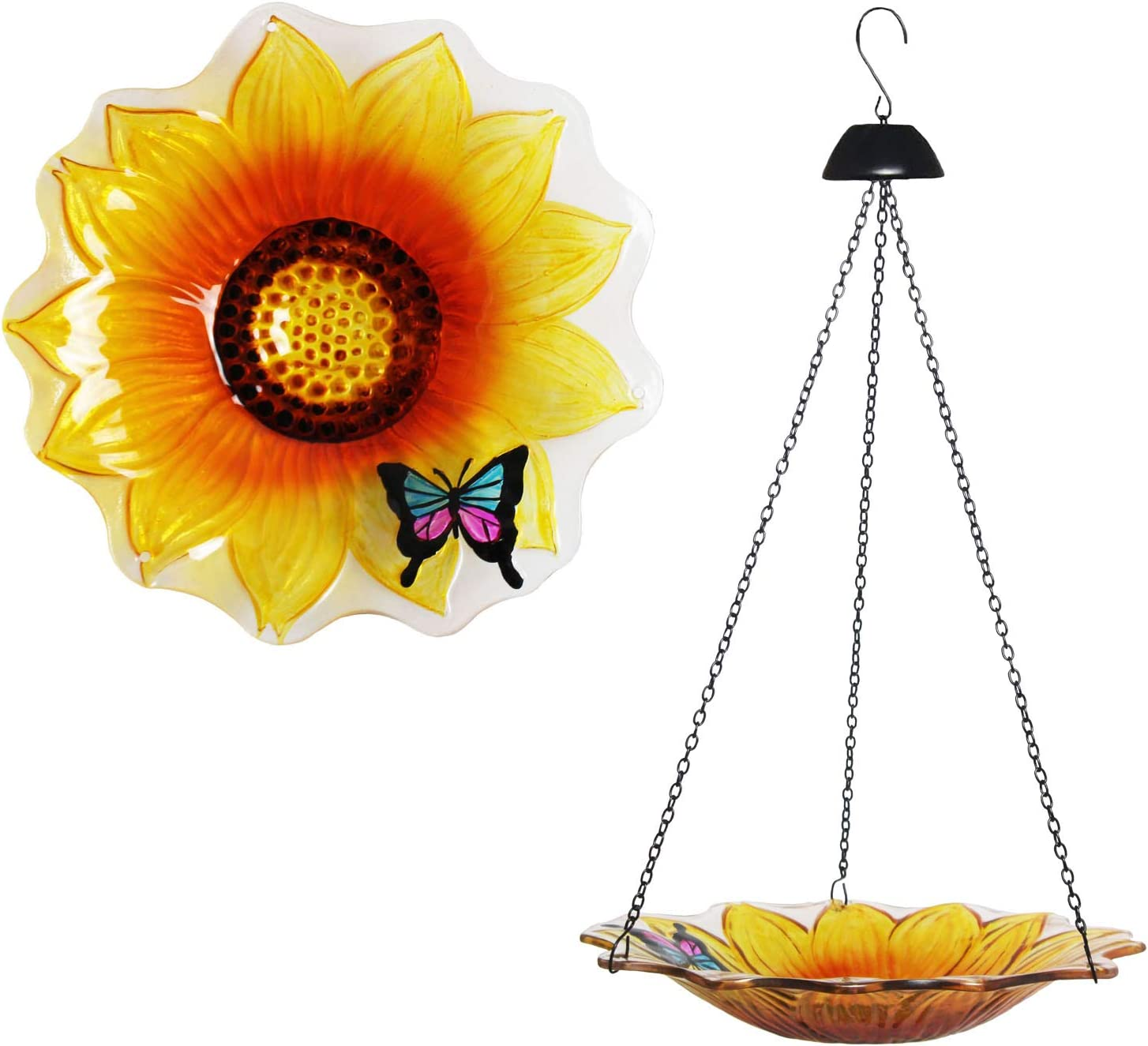 Cyleodo 11 inch Hanging Bird Bath Glass Bird Bath Sunflower Print with Butterfly Outdoor Glass Bowl Feeder for Patio,Garden,Yard