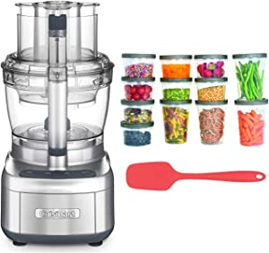 Cuisinart FP-13DSV Elemental 13-Cup Food Processor (Silver) with Silicone Spoon Spatula and Storage Containers Bundle (3 Items)