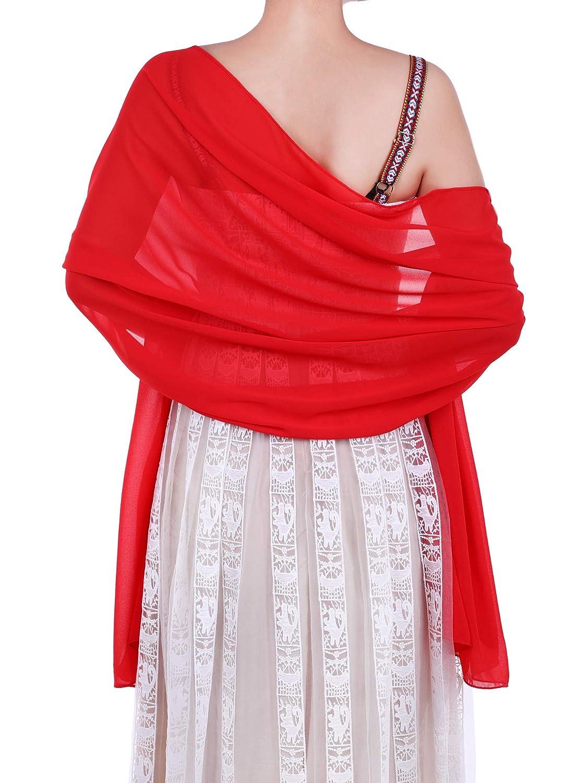 WILLBOND Womens Chiffon Bridal Evening Soft Wrap Scarf Shawl, Chiffon Scarf Ribbon Scarf for Women and Girls
