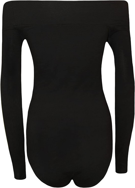 Fashion charming-Womens Plus Size Long Sleeves Off Shoulder Bardot Plain Viscose Jersey Leotard Bodysuit
