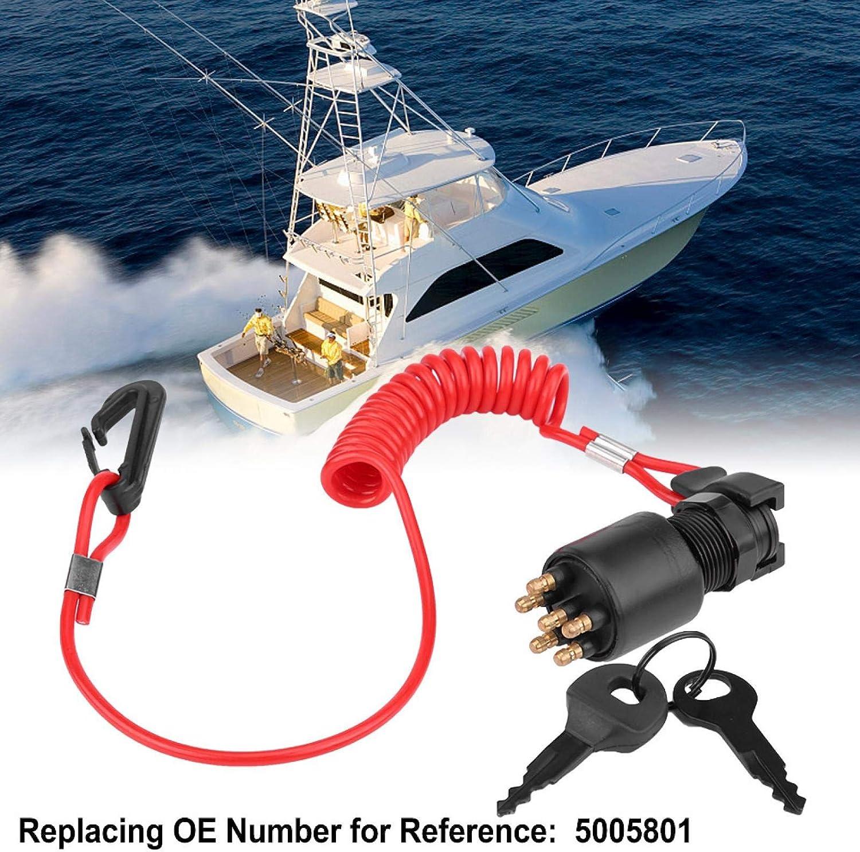 Interruttore a Chiave di accensione e Cordino di Sicurezza per Johnson Evinrude Boat 5005801 Aramox Interruttore di accensione