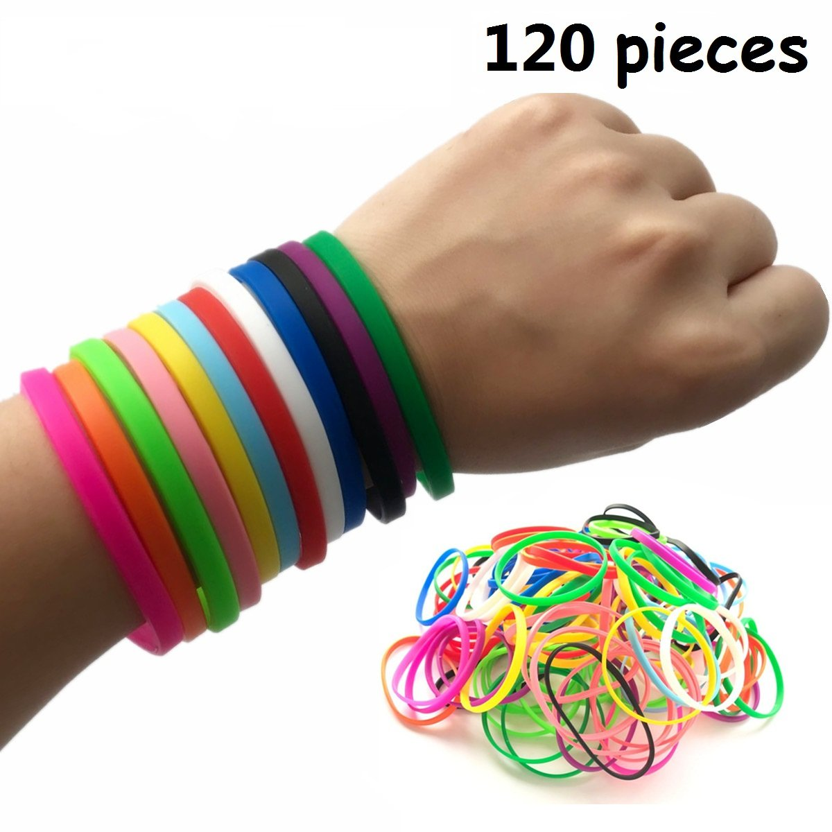 M.best 120 Pieces Neon Jelly Stretch Elastic Silicone Wristbands Bracelets for Party Favors Supplies - Assorted Colors