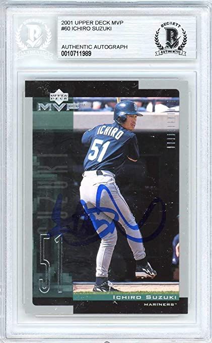 189d817a3 Ichiro Suzuki Autographed 2001 Upper Deck MVP Rookie Card  60 Seattle  Mariners Beckett BAS  10711989 at Amazon s Sports Collectibles Store