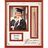 "Graduation Gift 15""x12"" Picture Frame - Holds 5""x7"" Photo, Name Card and Tassel for High School/College Ceremony Keepsakes, Red"