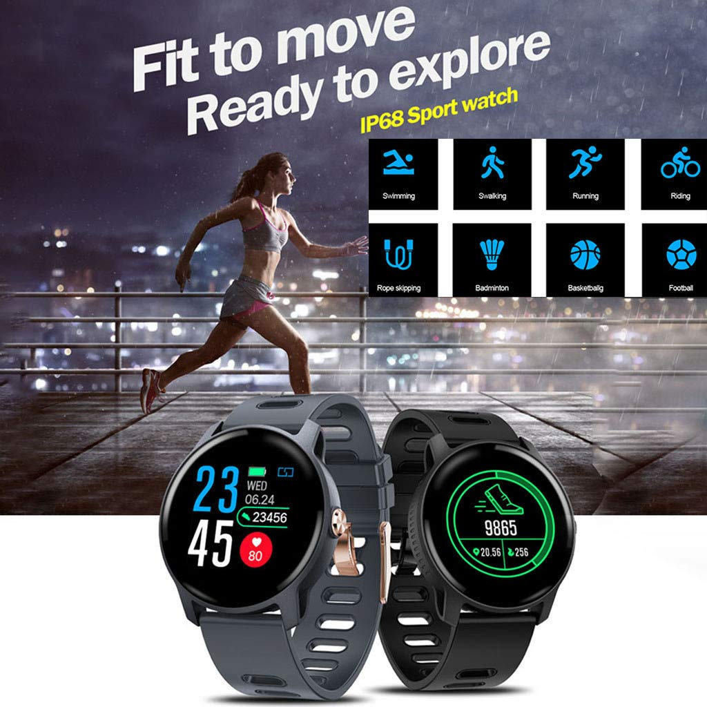 For Android & iOS, Waterproof Sport Smart Watch Fitness Heart Rate Tracker Blood Pressure Calorie Monitor Smart Bracelet (Black) by YNAA (Image #5)
