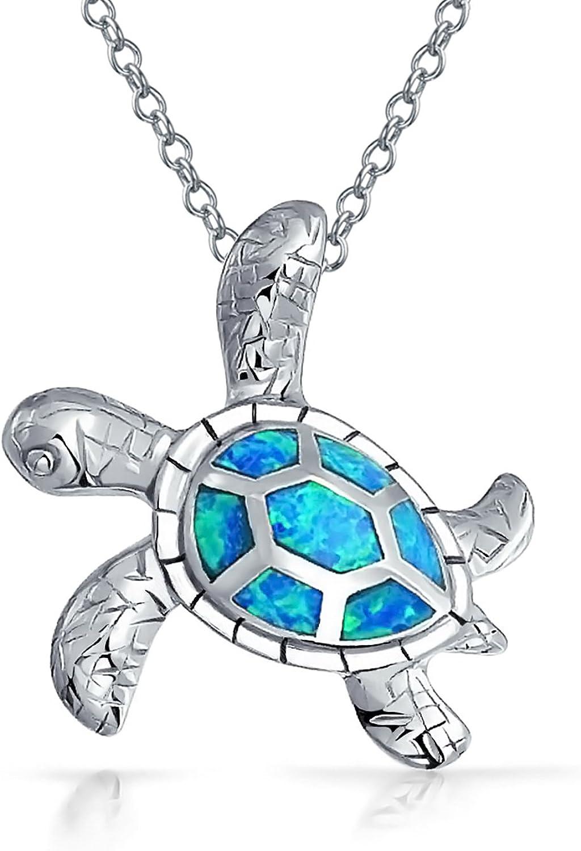 Gran Azul Náutico Creado Opal Inlay Collar Colgante Tortuga Tortuga De Mar Para Mujer Adolescente 925 Plata De Ley 925