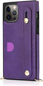 Slim Case Compatible with iPhone 12 Pro Max Apple 2020 5G 6.7 PU Leather Unisex Shockproof Protection Purple Soft Fashion Wristband Personality Crossbody Lanyard