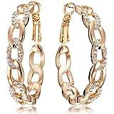 Gemini Women Jewelry 18K Gold Fill Swarovski Zirconia Big Round Hoop Pierced Earring Women Gift Sz 4cm