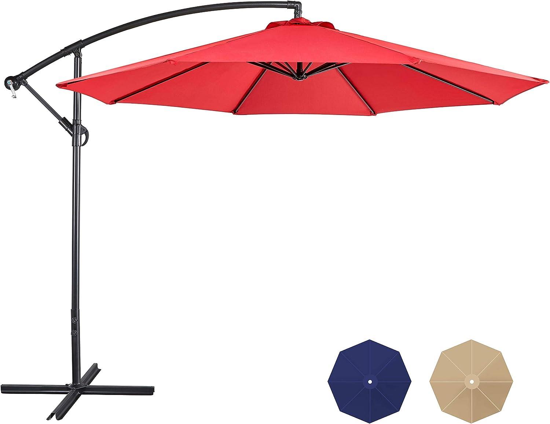 YAHEETECH 10FT Patio Offset Umbrella Cantilever Umbrella Hanging Umbrella Outdoor Table Umbrella 8 Ribs with Handy Crank & Cross Base for Garden/Lawn/Deck/Backyard/Pool,Red