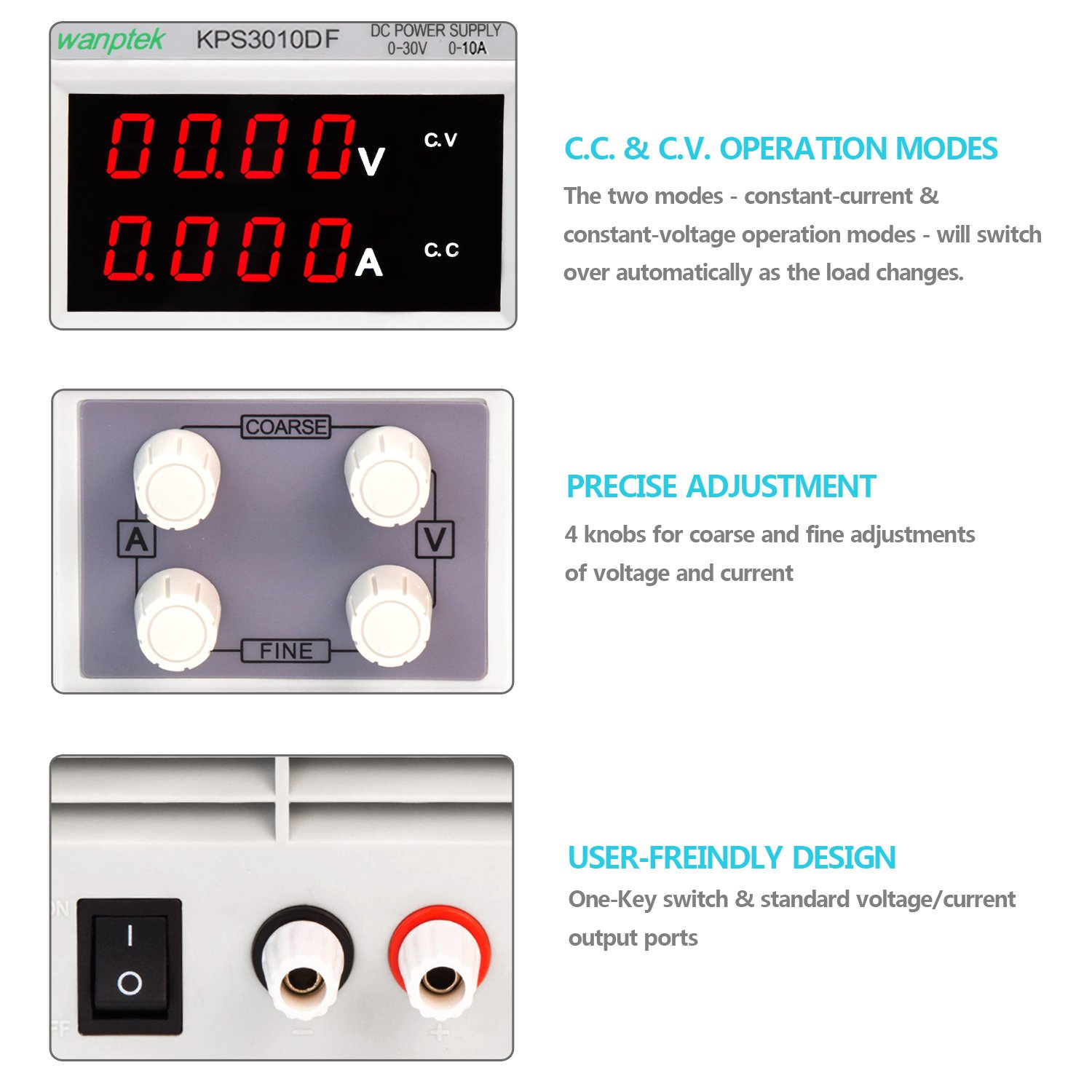 Dc Power Supply Variable 30v 10a 4 Digit Led Display Upgraded Voltage And Current Version Precision Adjustable Bench Regulated With 2