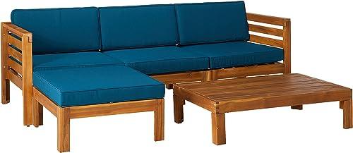 Christopher Knight Home Alice Outdoor 5 Piece Acacia Wood Sofa Set