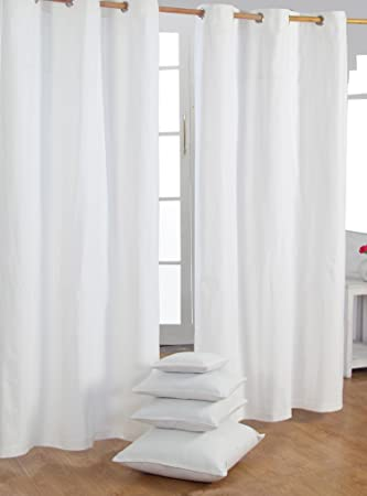 Homescapes Pair of 100% Cotton Ready Made Curtains - Plain Colour ...