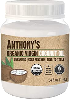 product image for Anthony's Organic Virgin Coconut Oil, 54 oz, Unrefined, Cold Pressed, Tree to Table, Keto Friendly