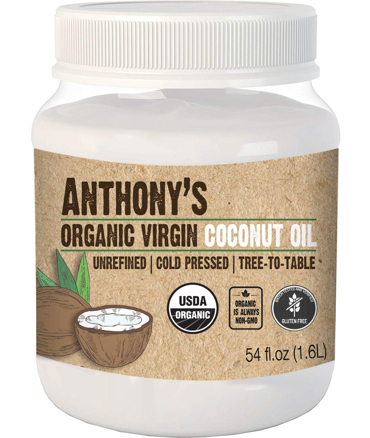 Anthony's Organic Virgin Coconut Oil (54 Oz) Unrefined, Cold Pressed, Tree to Table
