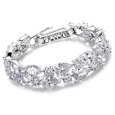 schön Design aliexpress elegantes Aussehen Damen Armband Silber Tropfenform Armband für Frauen Kristall Diamant  Fashion Elegantes Armband