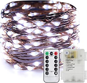 ER CHEN 40ft 240 LED Fairy Lights Battery Operated with Remote Control Timer Waterproof Copper Wire Twinkle String Lights for Bedroom Patio Garden Party Christmas Decor (Cool White)