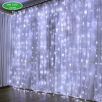300 LEDs Guirlande Lumineuse 8 Modes de Fonctionnement pour D/écoration Etanche Eclairage D/écoration Int/érieur et Ext/érieur pour Fen/être,Mariage,Anniversaire,Maison,Jardin Rideau Lumineux