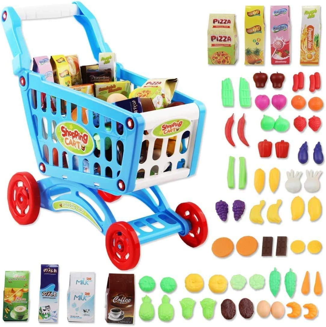 deAO Carrito de la Compra Infantil Incluye Variedad de 50 Productos de Mercado y Comestibles para Niños y Niñas (Azul)