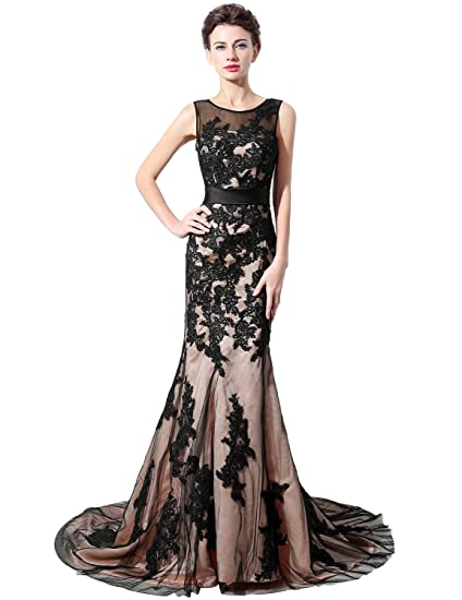 c5c91c1c77de Sarahbridal Long Tulle Prom Dresses Elegant Evening Party Dress SSD325  Black Size UK 6