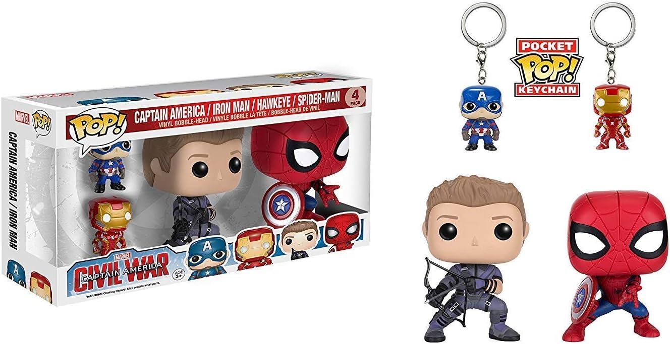 Funko POP Marvel: Civil War Hawkeye Spiderman, Iron Man & Captain America Keychain,Red,blue,black,medium
