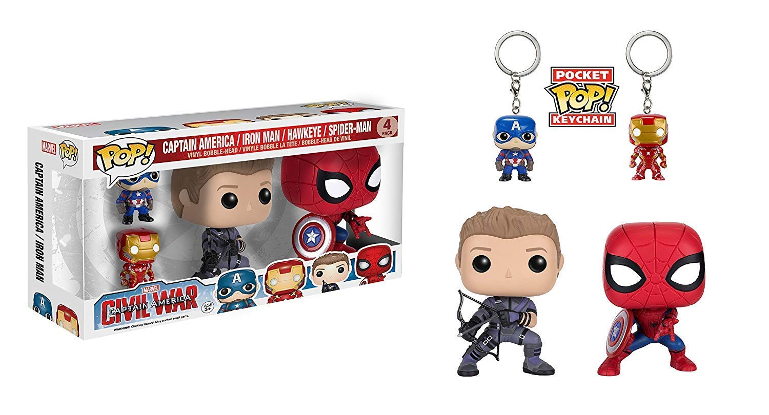 Funko POP Marvel: Civil War Hawkeye Spiderman, Iron Man & Captain America Keychain