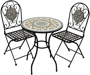 Woodside Blue Mosaic Garden Table And Folding Chair Set Outdoor