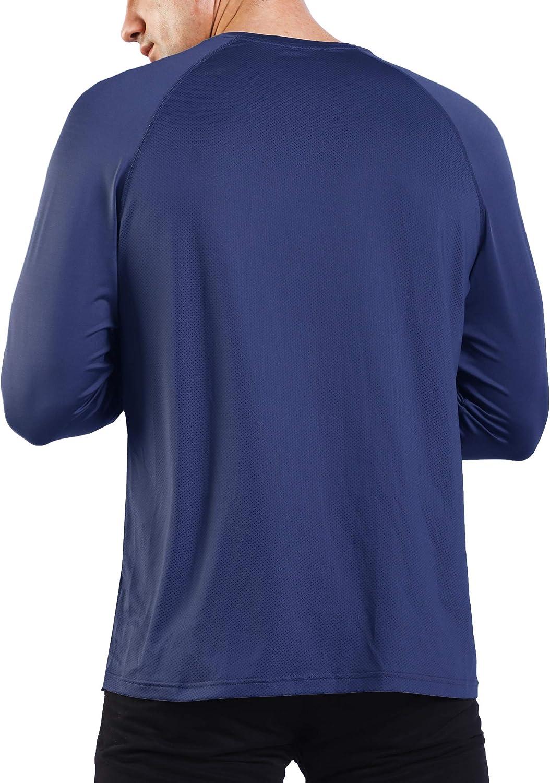 Ogeenier Camiseta Deportiva de Manga Larga Hombre Secado R/ápido