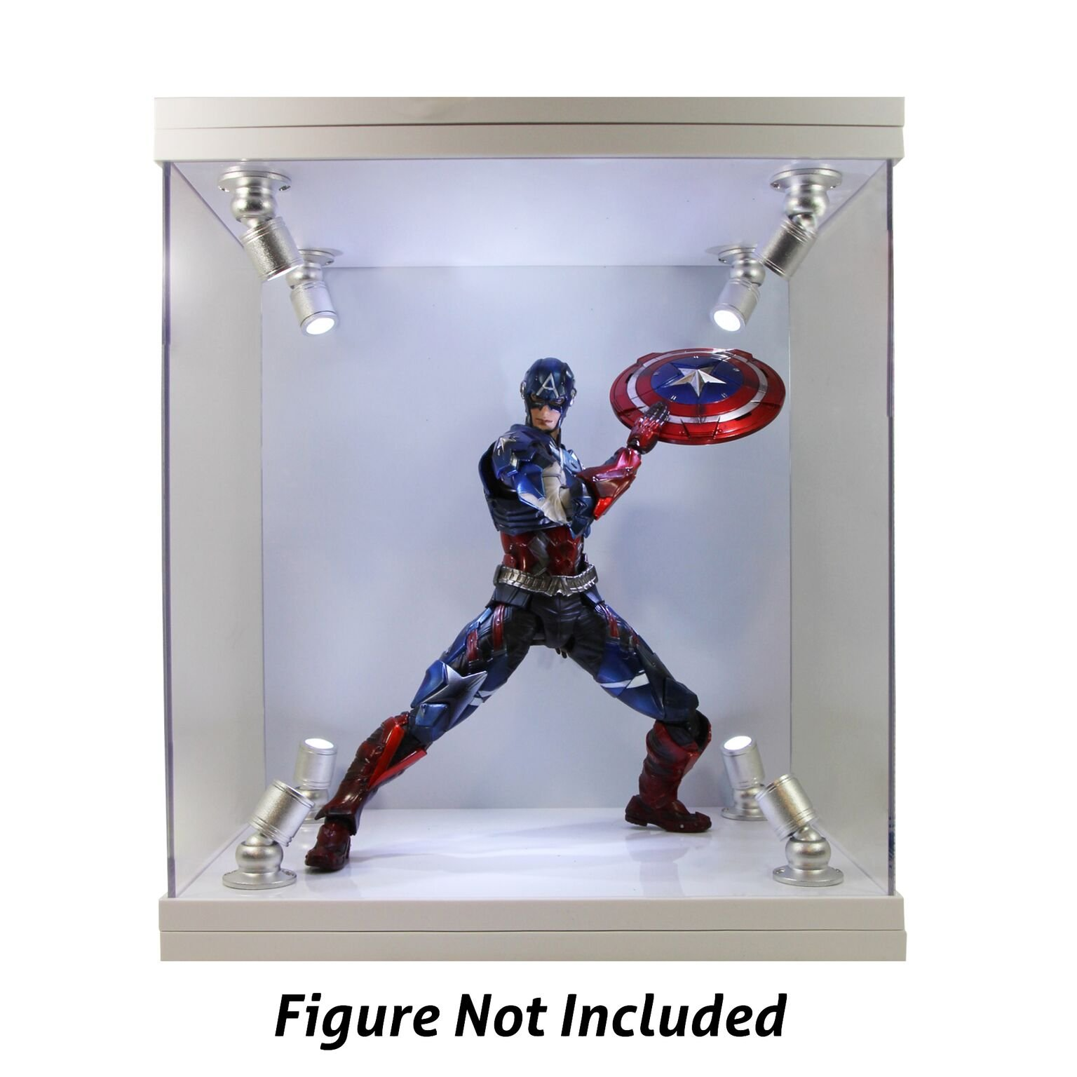 ELITE E-02 GLOSS WHITE 8 LED LIGHTED FIGURE STATUE DOLL DISPLAY CASE FOR MOST FIGURES UP TO 11'' INCHES TALL by Elite Figure Cases (Image #2)