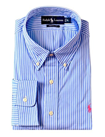 f15d737d641278 Image Unavailable. Image not available for. Color: Ralph Lauren Custom-Fit Striped  Poplin