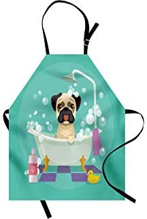 7d1013cf9 Lunarable Nursery Apron, Pug Dog in Bathtub Grooming Salon Service Shampoo  Rubber Duck Pets in