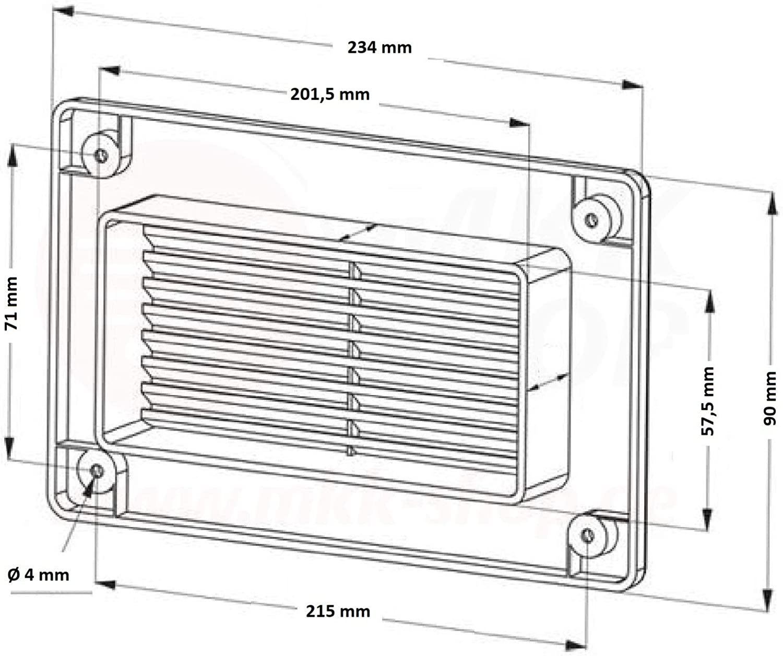 L/üftungsgitter Lamellen Flachkanal Insektenschutz Abluftgitter Lamellengitter MKK/® 55 x 110 mm braun