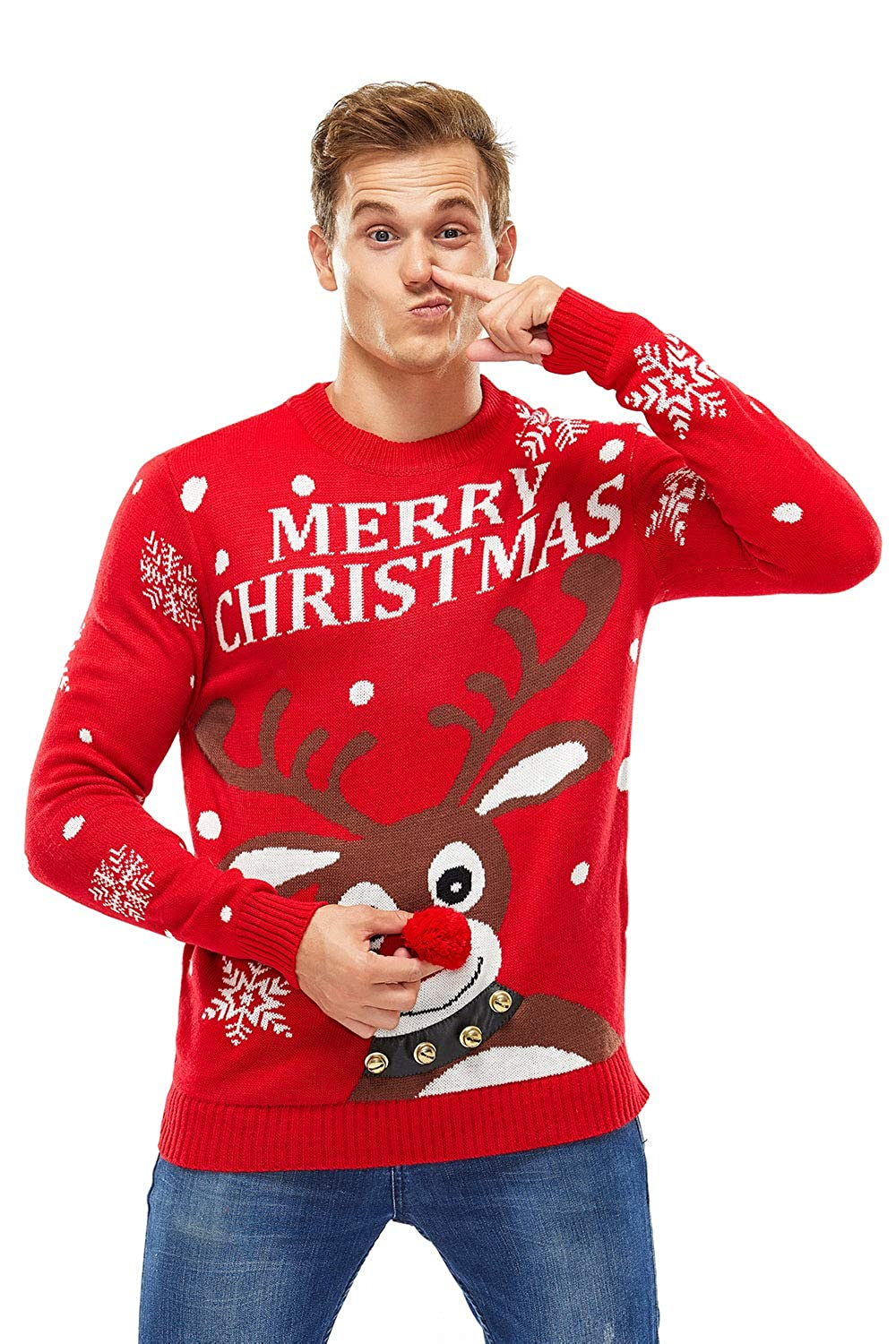 Unisex Womens Christmas Sweater Ugly Pullover Funny Reindeer Pom Pom Nose Xmas Red Nose Romp