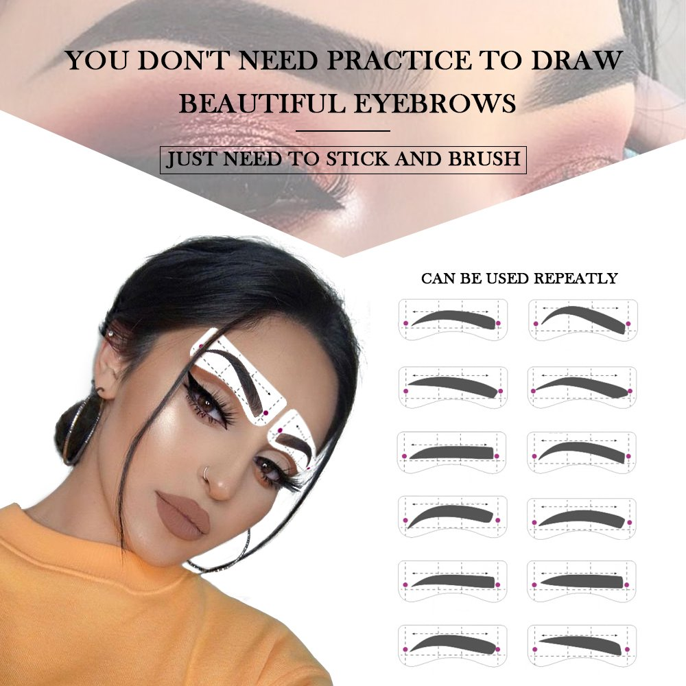 Eyebrow Stencil Shaper with 3 pcs Eyebrow Razor- Eyebrow Stencil Ruler Shaping Template for DIY Grooming – Eyebrows Grooming Stencil Kit Reusable Styling Tool, 16 Unique Styles, 32pcs by HIME SAMA (Image #2)