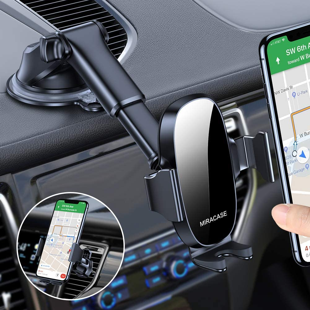 Miracase 4-in-1 Cell Phone Holder for Car, Universal Car Phone Holder Mount for Dashboard Air Vent Windshield Compatible with iPhone 11 Pro Max/SE/XR/XS/8 Plus/Samsung S20 Ultral/Note 10 & All Phones