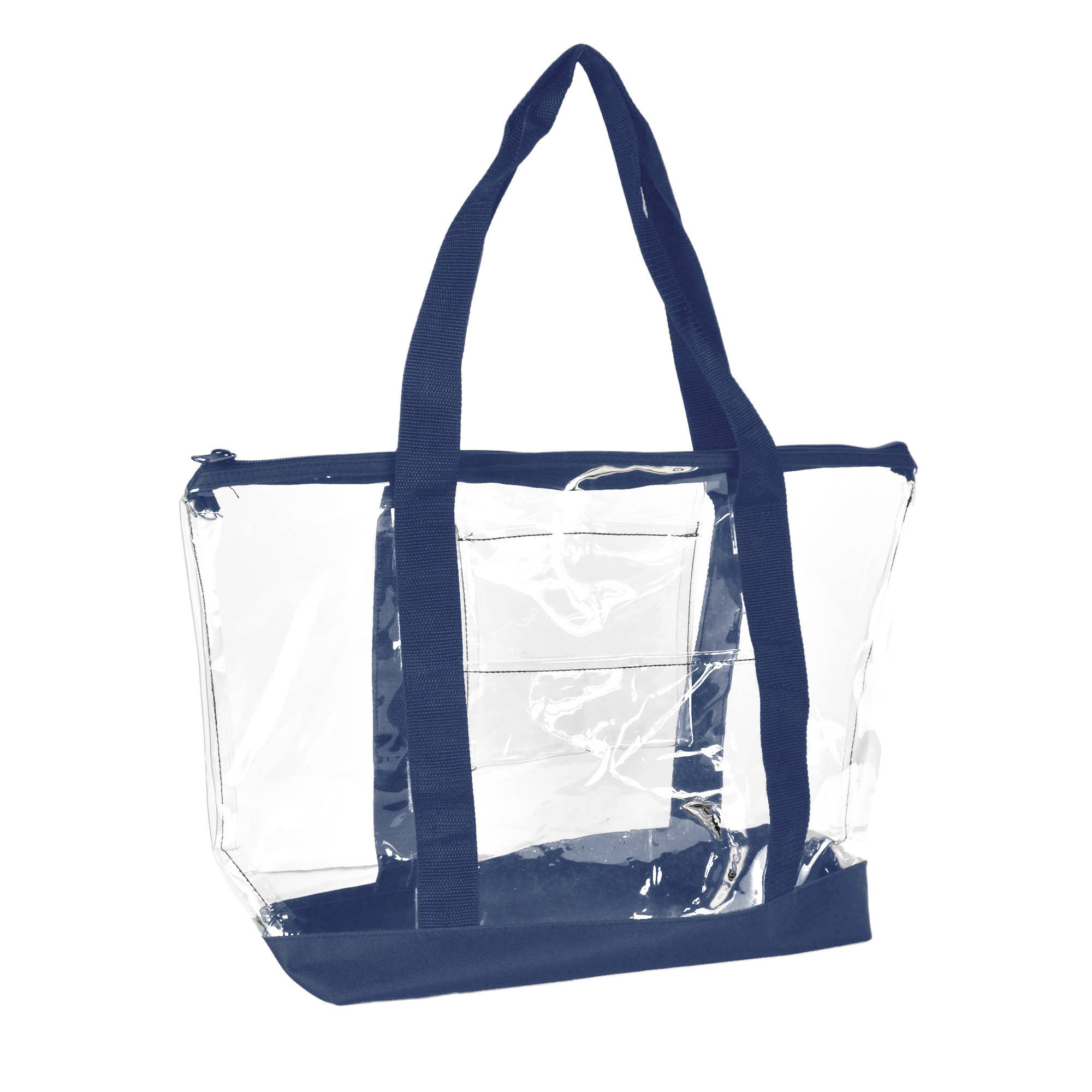 DALIX Clear Shopping Bag Security Work Tote Shoulder Bag Womens Handbag (Navy Blue) by DALIX (Image #1)