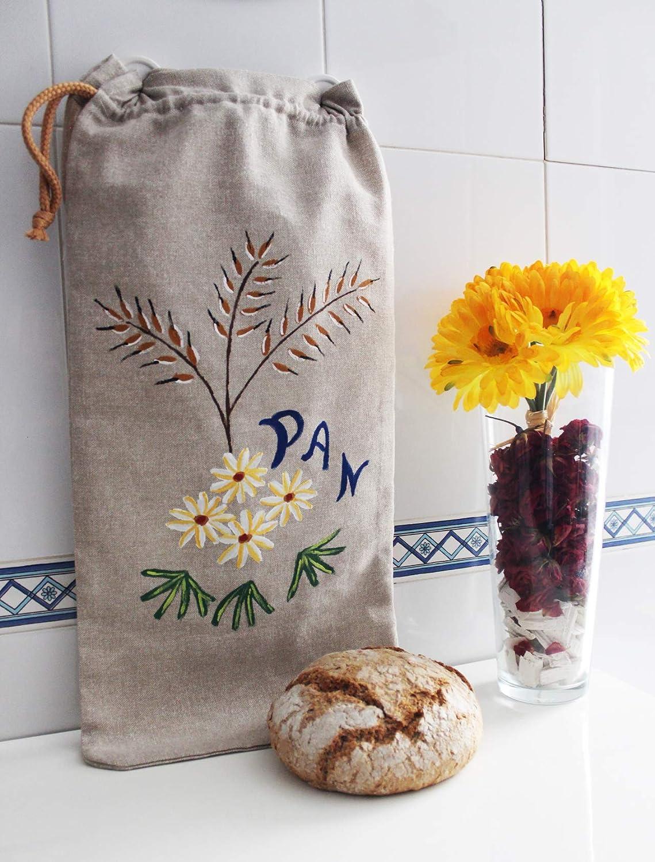 Tama/ño Grande 54x25cm Reutilizable y respetuosa con el Medio Ambiente ecol/ógica Eco Friendly Morla Bolsa Pan Artesanal Decorativa para Cocina 100/% Hecha a Mano Amapolas