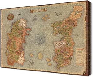 World Map of Warcraft HD Poster Decor Retro Azeroth Game Map Canvas Artwork Stretched and Framed Easy to Hang for Boy for Game Room Decor (24''H x 36''W)