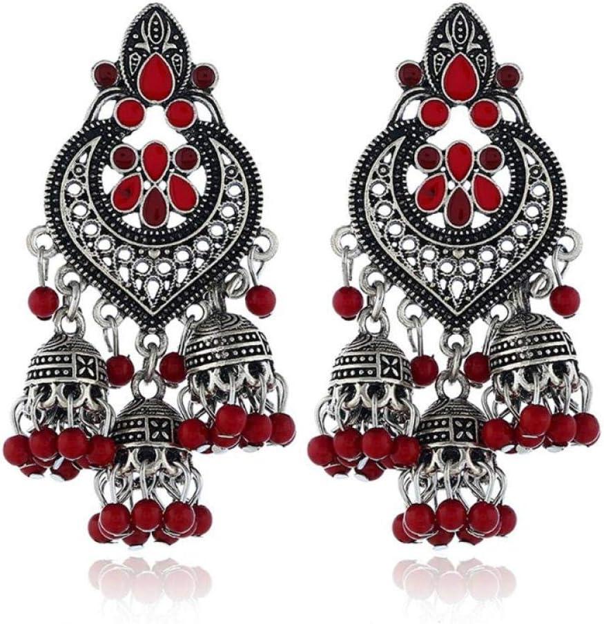 ZIXIYAWEI Pendientes para Mujer Pendientes De Gota De Bollywood Indio Vintage Rojo Pendientes De Joyería De Moda Gitana Pendientes De Gota Geométricos Regalo De Joyería De Fiesta