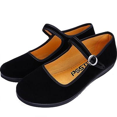 pestor Velvet Mary Jane Shoes Ballerina Ballet Flats Yoga Exercise Dance Shoes | Flats