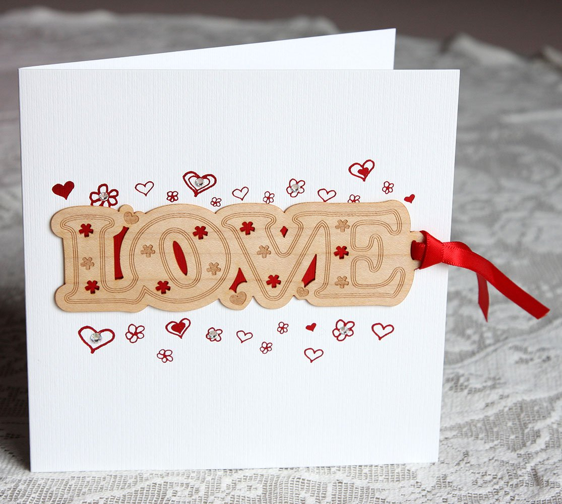 Love Card - Elegant wooden bookmark card with ribbon, coloured foil & hand-finished with glass crystals. Love / Wedding / Engagement / Valentine Card White Mink