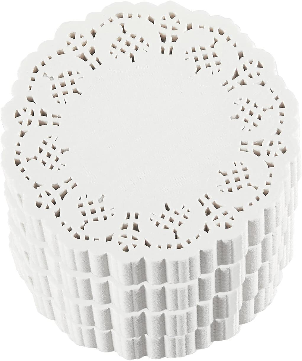 Juvale 1000-Pack White 4 Inch Paper Lace Doilies for Desserts, Weddings, Baby Showers, Table Decor
